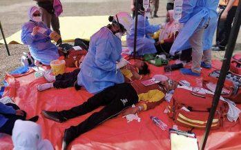 Parents helpless at Pasir Gudang makeshift triage centre