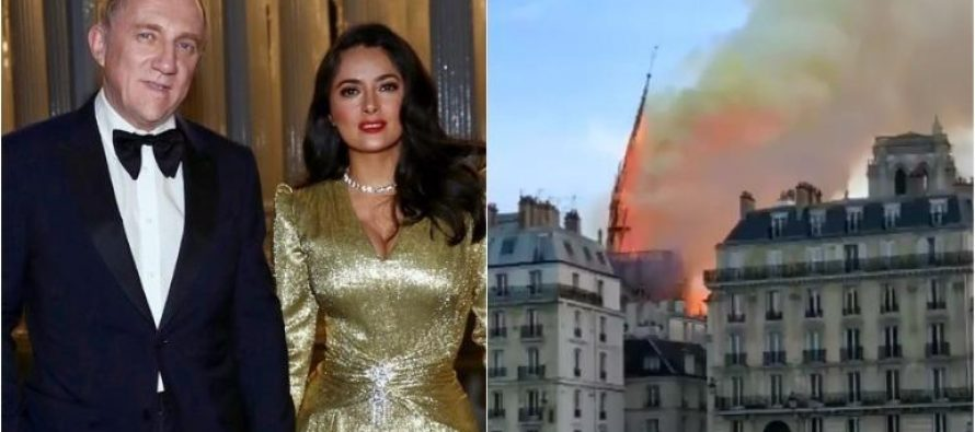 Salma Hayek's billionaire husband: 100 million euros to rebuild Notre Dame Cathedral