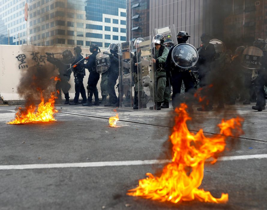 Hong Kong: Petrol bombs tossed at police in latest protest