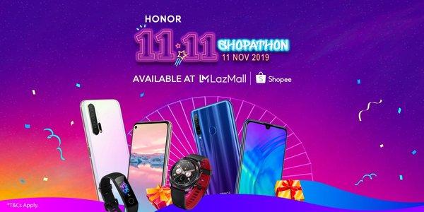 HONOR 11.11 Shopathon 24 Hours Flash Sales at LazMall & Shopee SG