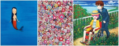 Liu Ye (1964) - Little mermaid, 2004 - left, Takashi Murakami (1962) - Dazzling Circus, 2013 - center, Mr. (1969) – Don't go anywhere, 2006 - right