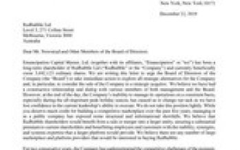 Emancipation Delivers Letter to Redbubble CEO and Board of Directors