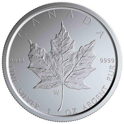 "The Royal Canadian Mint's ""W"" marked Silver Maple Leaf collector coin"