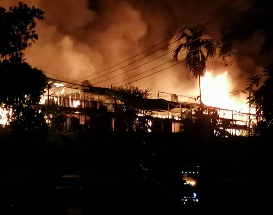 Coconut milk processing factory damaged in fire