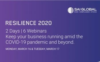 SAI Global Hosts RESILIENCE 2020 Virtual Conference on COVID-19 Business Continuity and Crisis Management as DRJ Spring 2020 Cancels