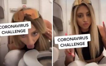 Woman licks plane toilet seat for 'coronavirus challenge'