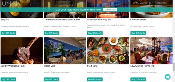 UMAI launches largest database of restaurants in Singapore and Malaysia that sell gift cards to help keep favorite restaurants afloat