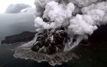 Volcanic mountain 'anak krakatau' erupted once again