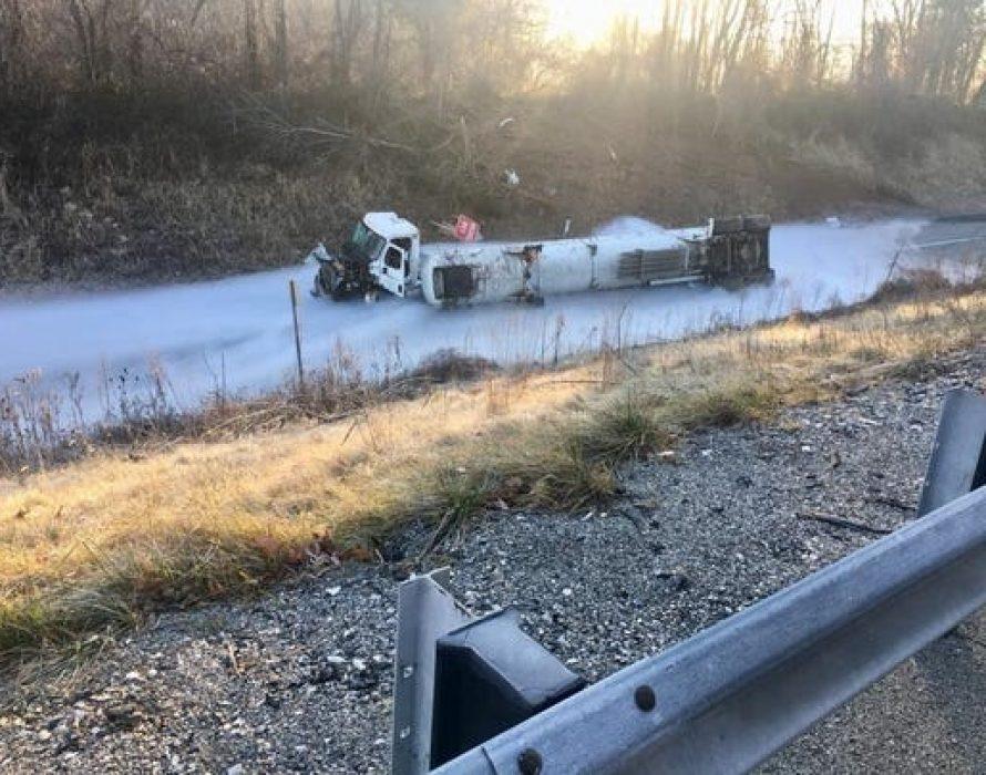 Trailer truck carrying liquid oxygen overturns at PLUS