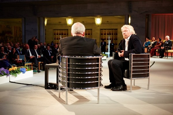 Richard Branson On the stage at Business for Peace Foundation