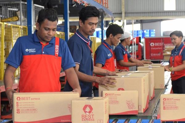 BEST Inc.'s express sortation center in Kuala Lumpur, Malaysia