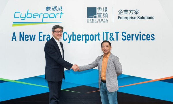 HKBN Co-Owner and CEO of HKBN Enterprise Solutions & JOS Group Billy Yeung (right) and Cyberport Chief Executive Officer Peter Yan (left) celebrate the start of a new era of Cyberport IT & T Services from July 2020, to reinforce Cyberport's growing digital technology ecosystem through infrastructure and service support enhancements.