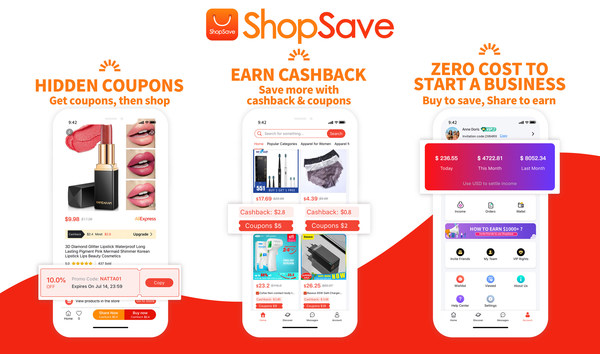 ShopSave brings huge amount of products with super discounts, high cashback and high commissions, so that you can save money and make money just by moving your finger! (Screenshot of interface of ShopSave APP)