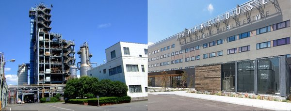 "Left: Plastic recycle plant in Showa Denko Kawasaki Right: The pure hydrogen fuel cell system ""H2Rex(TM)"" that was implemented at the Kawasaki King Skyfront Tokyu REI Hotel"