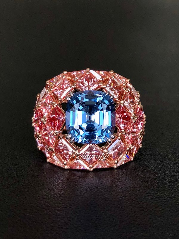 Rare fancy vivid 8.0 carats blue diamond set on bed of fancy vivid pink diamonds by Bellagraph