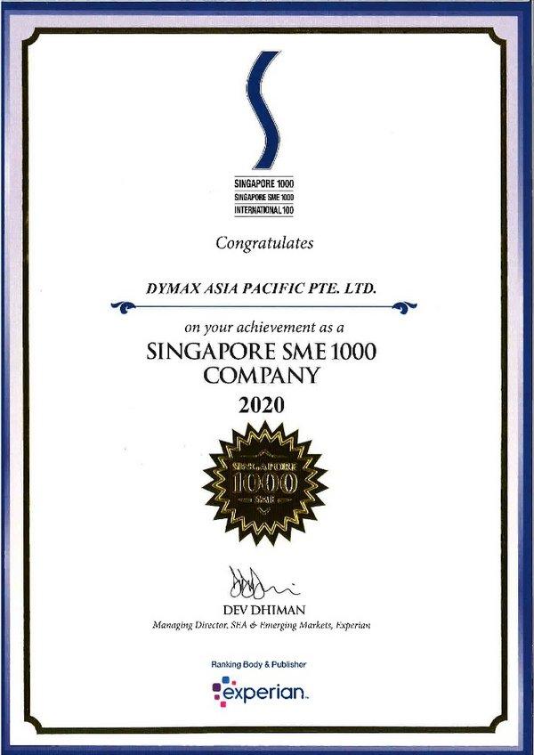 Dymax Asia Pacific Pte Ltd. SME Certificate