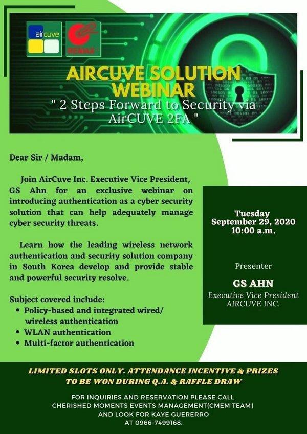 "AirCUVE Solution Webinar ""2 Steps Forward to Security via AirCUVE 2FA"""