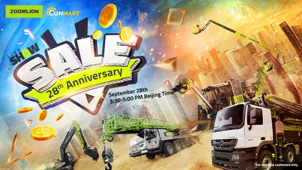 To celebrate the 28th Anniversary of Zoomlion (September 28, 2020), the five major product lines of Zoomlion, mobile crane, concrete, earthmoving, AWP, and agriculture will bring 20 best-selling products overseas with the biggest discount to benefit its dealers and global customers, especially in Southeast Asia.