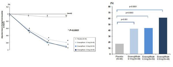 Changes in HbA1c from the baseline through 12-week administration (left) Percentage of Patients Displaying HbA1c<7.0% in Week 12 (right) *Glycemic control goal in American Diabetes Association