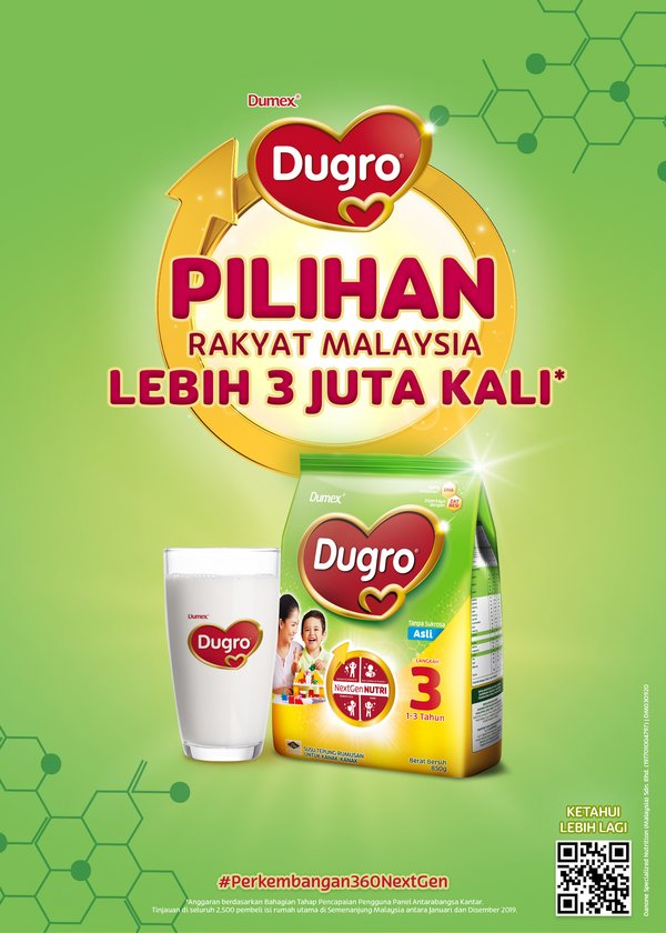 Dugro – The choice of Malaysians over 3 million times. Estimates based on Kantar Worldpanel Division's Consumer Reach Point. Surveyed across 2,500 key household shoppers in Peninsular Malaysia between January and December 2019.