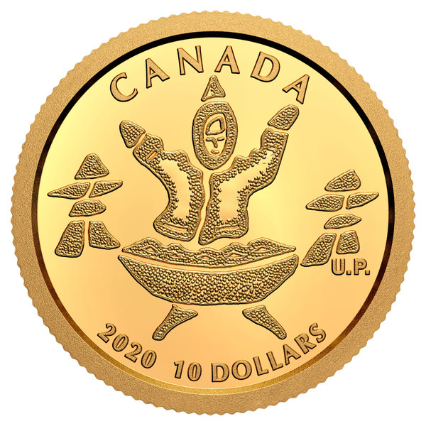 The Royal Canadian Mint's pure Nunavut gold coin (An Inuq and a Quliq)