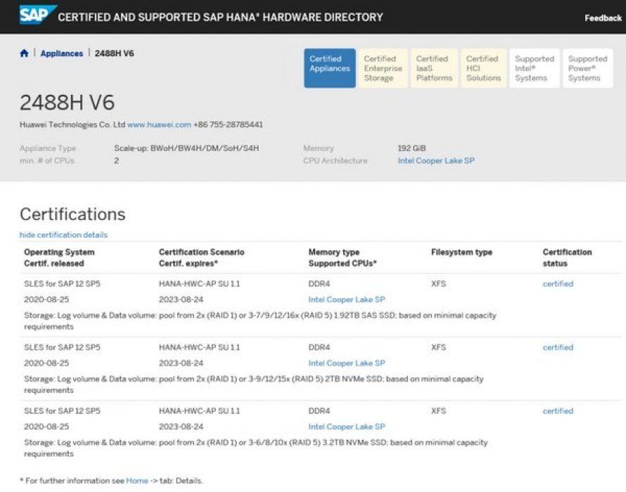 Huawei FusionServer Pro 2488H V6 Server Passes SAP HANA Appliance Certification