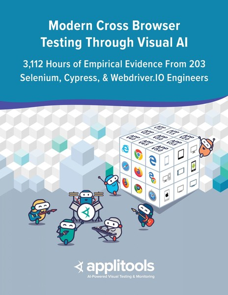 The Modern Cross Browser Testing Through Visual AI report compiles 3,125 hours of cross environment testing data based on a modern, responsive ecommerce application across 21 browser and viewport combinations. It is the most comprehensive study of its kind to date.