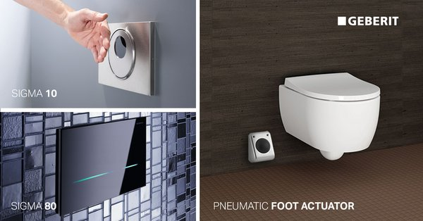 The Geberit pneumatic foot actuator is simple to install, easy to mainntain and enhances bathroom hygiene with its hands-free flushing. Touchless actuator plates such as the Geberit Sigma 10 and award-winning Sigma80 are also smart options for upgraded hygiene and aesthetics.