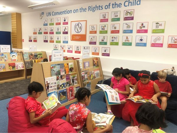 Library space dedicated to the UN Convention on the Rights of the Child (UNCRC). There are over 300 books in the collection, each related to a specific UNCRC article.