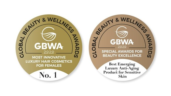 The official Global Beauty & Wellness Awards label for winners and finalists