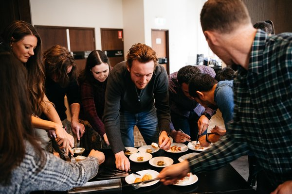 Vow team inspects 6 unique dishes in a demonstration of their cultured meat product technology. The dishes were designed, prepared and presented by renowned chefs Neil Perry and Corey Costelloe.