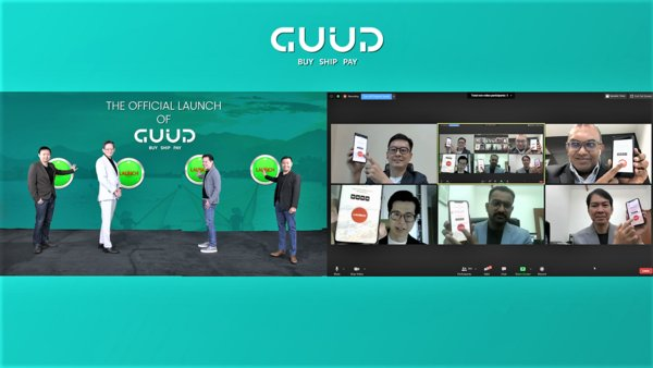 On left screen, from left to right: Mr Jiejing Chen, Head GUUD Source, Mr Desmond Tay, CEO of GUUD, Mr Vesmond Wong, Group CEO of DeClout, Mr Desmond Loh, Head of GUUD Finance. On right screen from top left to bottom right: Mr Johan Djaja, GM of GUUD Indonesia, Mr Kiren Kumar, Assistant Chief Executive (Digital Industry and Talent), IMDA, Mr George Chan, GM of GUUD Africa, Mr Siva Gunesparan, GM of GUUD Singapore and Mr Viboon Chaojirapant, Product Director of GUUD International