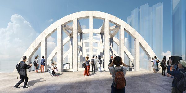 The parabolic exoskeleton truss, a unique architectural feature of State Theatre, will be restored.