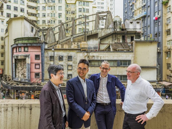 (L to R: Tony Lam, Director of AGC Design; Adrian Cheng, CEO of New World Development; Matthew Potter, Director of WilkinsonEyre; Brian Anderson, Director of Cultural Heritage at Purcell)