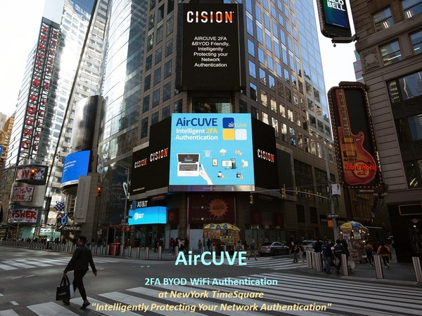 AirCUVE 2FA BYOD WiFi Authentication at NewYork TimeSquare.