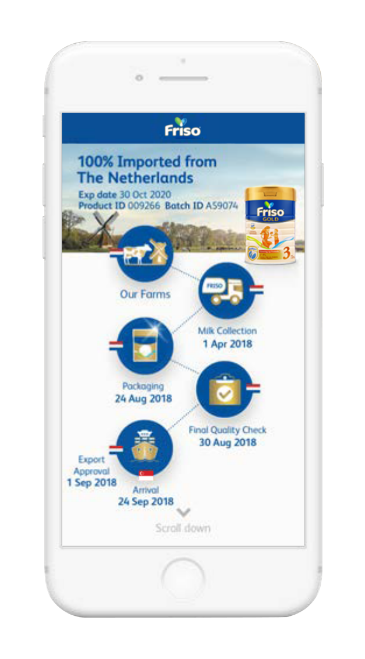 Arriving at the landing page of FRISO TrackEasy, mums can click on icons to learn more about milk source and every level of the journey of their formula milk tin