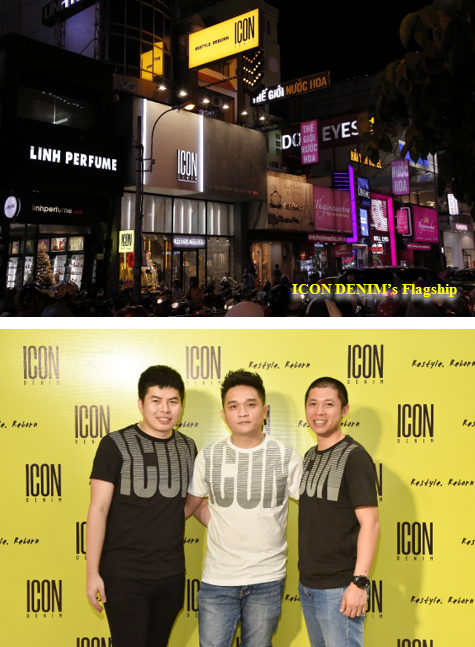 Founders of ICON DENIM Mr. Tran Dai Duong – CEO; Mr. Dang Vu Bao Vinh – CPO; Mr. Nguyen Tien Huy – CMO (from left to right)