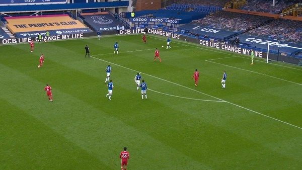 OCB Life Group advertising in Goodison Park Stadium during the previous Premier League match between Everton and Liverpool.