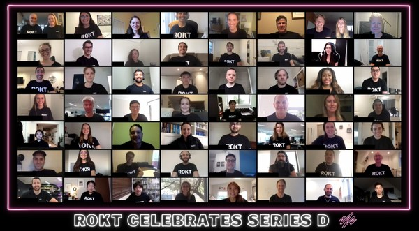 Rokt team virtually celebrates closing their Series D investment round amid the COVID-19 pandemic
