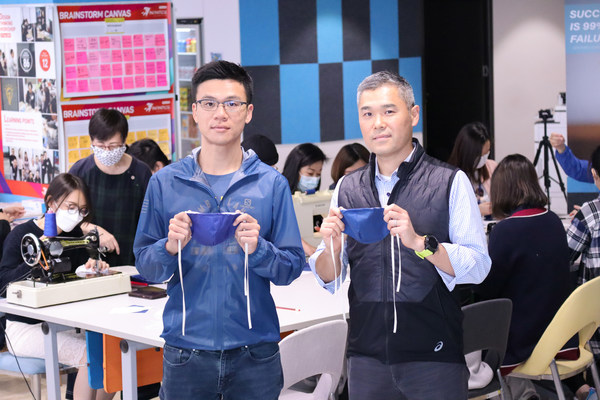 """Mr. Stan Tang, Chairman of Stan Group, and Mr. Howard Yeung, Executive Director and Chief Financial Officer participated in the """"Make a Mask"""" special project to produce 1,300 fabric masks for the community."""