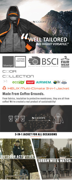 """Wake up and smell the coffee: COOR™ 3-in-1 outdoor jacket made from upcycled coffee grinds launches on Kickstarter. Designed to be everlasting, """"the last jacket you'll ever need"""", combines leading performance technology with bio-based fabrics and multifunctional 3-in-1 design."""