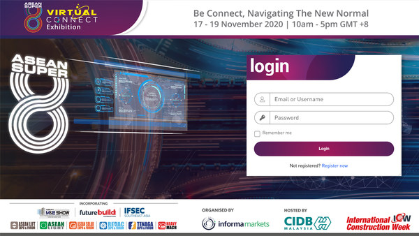 Landing page of ASEAN Super 8 Virtual Connect Exhibition where visitors and buyers register or login at www.aseansuper8-virtual.com