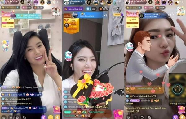 Broadcasters Anna, Silva and Pauline livestreaming on Bigo Live.