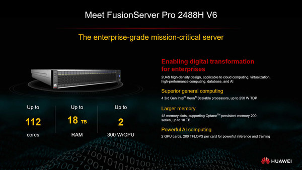 Huawei and Intel jointly launched the next-generation FusionServer Pro 2488H V6 intelligent server.The FusionServer Pro 2488H V6 houses four 3rd Gen Intel® Xeon® Scalable processors in a 2U space, and supports the Intel® Optane™ persistent memory (PMem) 200 series. The server unleashes up to 560 TFLOPS computing power for AI inference and training, fast-tracking the digital transformation of industries.