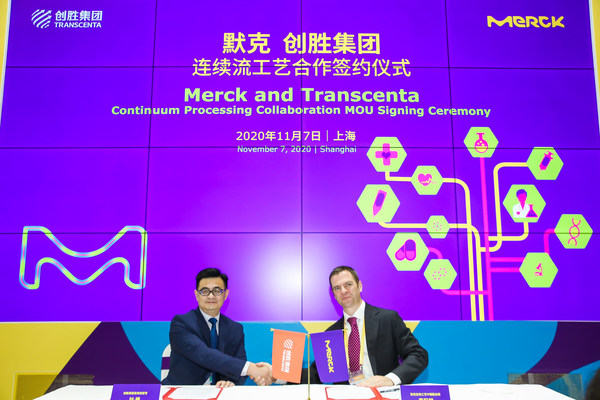 From left to right: Frank Ye, Chief Operating Officer of Transcenta; Ian Carmichael, Vice President and Head of BioProcessing China, Life Science business of Merck