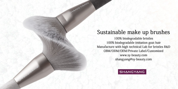 ShangYang's sustainable makeup brushes include the company's innovative 100% biodegradable imitation goat hair bristles