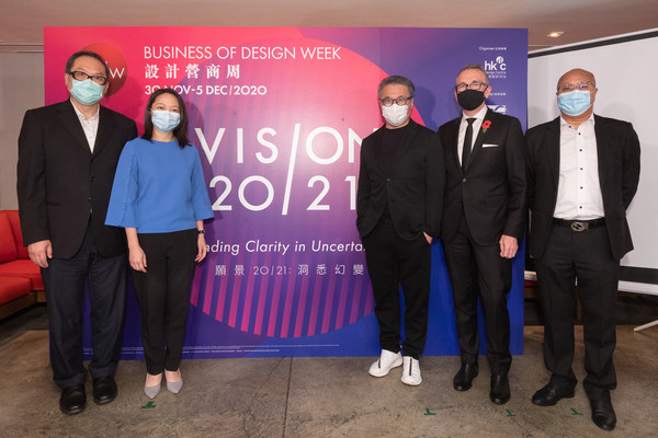 (From left to right) Mr Victor Tsang, Head of CreateHK; Ms Anna Cheung, Director of Service Promotion of Hong Kong Trade Development Council; Prof. Eric Yim, Chairman of Hong Kong Design Centre; Mr Paul McComb, Director of General Trade & Investment at Department for International Trade; and Mr Eric Tong, Head of Advertising of ViuTV kicked-off the BODW 2020 Media Preview held on 3 November.