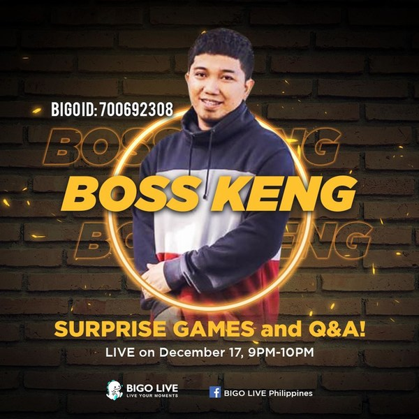 Interact with Boss Keng during the livestream on 17 December