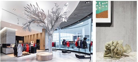 """""""Story Tree"""" by Alex Fisher and Qavavau Manumi in Canada Goose's Yorkdale Shopping Centre Store 
