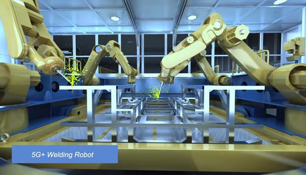 5G+ Welding Robot at Changde CRRC New Energy Vehicle Dark Smart Factory.